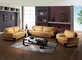 Global United Furniture 728 Leather Match 3PC Sofa Set in Beige color.