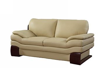 Global United 728 - Leather Match Loveseat in Beige color.
