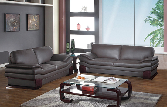 Global United Furniture 728 Leather Match 2PC Sofa Set in Brown color.