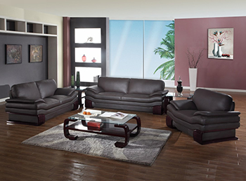 Global United Furniture 728 Leather Match 3PC Sofa Set in Brown color.