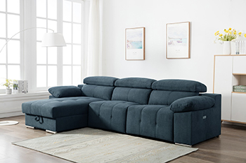 Global United 7306 - Chanille Blue Power Reclining LAF Sectional.