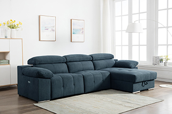 Global United 7306 - Chanille Blue Power Reclining RAF Sectional.