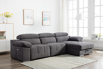 Global United 7306 - Chanille Gray Power Reclining RAF Sectional.