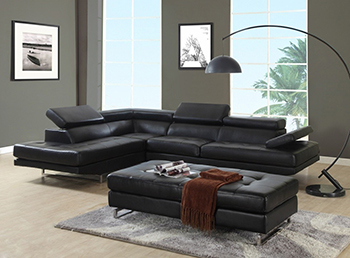 Global United 8136 - Sectional LAF in Black Color.
