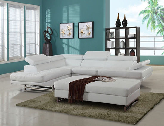 Global United 8136 - Sectional LAF in White Color.