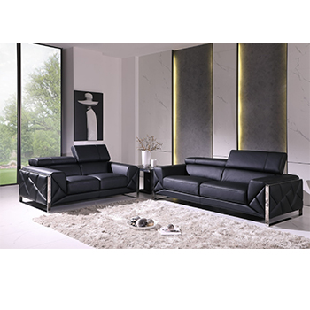 Global United 903- Genuine Italian Leather 2PC Sofa Set in Black color.