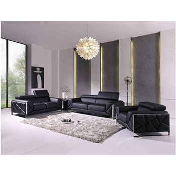 Global United 903- Genuine Italian Leather 3PC Sofa Set in Black color.
