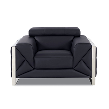 Global United 903 - Genuine Italian Leather Chair in Black color.