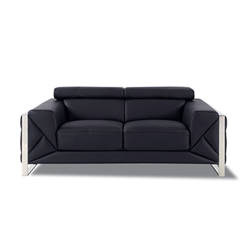 Global United 903 - Genuine Italian Leather Loveseat in Black color.