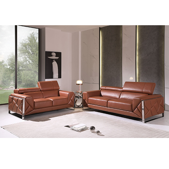 Global United 903- Genuine Italian Leather 2PC Sofa Set in Camel color.