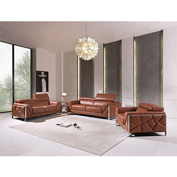 Global United 903- Genuine Italian Leather 3PC Sofa Set in Camel color.