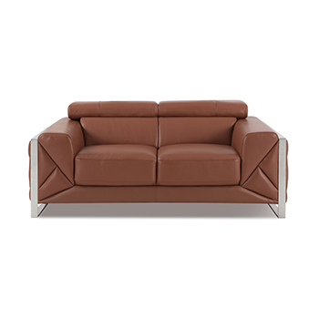 Global United 903 - Genuine Italian Leather Loveseat in Camel color.