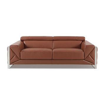 Global United 903 - Genuine Italian Leather Sofa in Camel color.