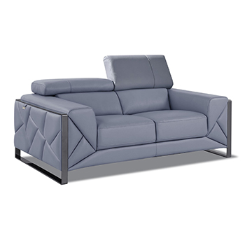 Global United 903 - Genuine Italian Leather Loveseat in Light Blue color.