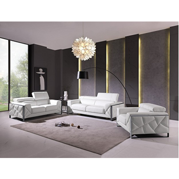 Global United 903- Genuine Italian Leather 3PC Sofa Set in White color.