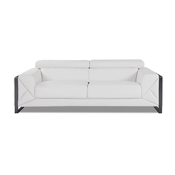 Global United 903 - Genuine Italian Leather Sofa in White color.