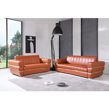 Global United 904- Genuine Italian Leather 2PC Sofa Set in Camel color.
