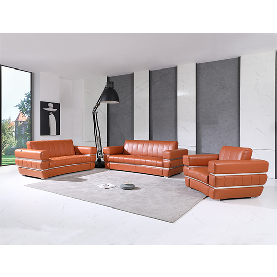Global United 904- Genuine Italian Leather 3PC Sofa Set in Camel color.