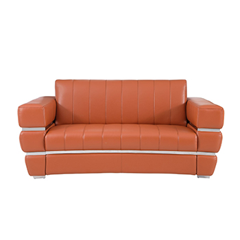 Global United 904 - Genuine Italian Leather Loveseat in Camel color.