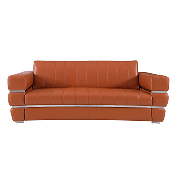 Global United 904 - Genuine Italian Leather Sofa in Camel color.