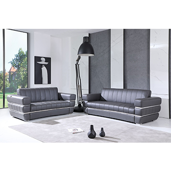 Global United 904- Genuine Italian Leather 2PC Sofa Set in Dark Gray color.