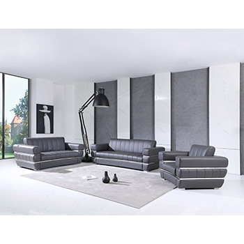 Global United 904- Genuine Italian Leather 3PC Sofa Set in Dark Gray color.