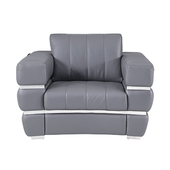 Global United 904 - Genuine Italian Leather Chair in Dark Gray color.