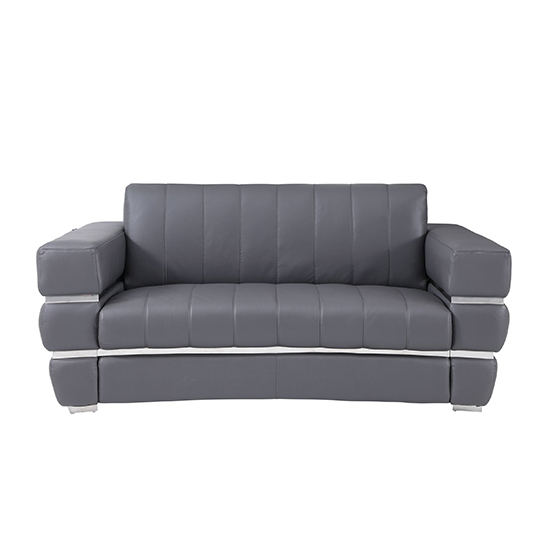 Global United 904 - Genuine Italian Leather Loveseat in Dark Gray color.