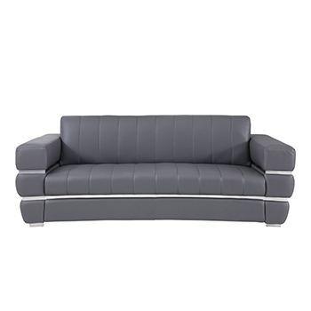 Global United 904 - Genuine Italian Leather Sofa in Dark Gray color.