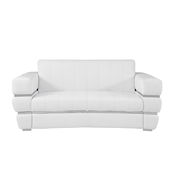 Global United 904 - Genuine Italian Leather Loveseat in White color.