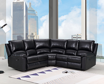 Global United 9241 - Leather Air Power Reclining Sectional in Black Color.