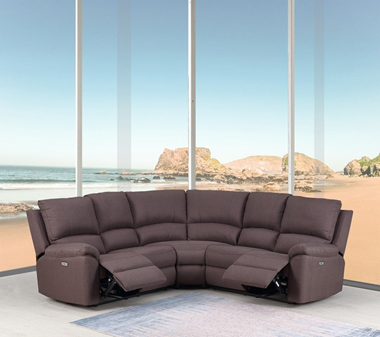 Global United 9241 - Chanille Power Reclining Sectional in Brown Color.