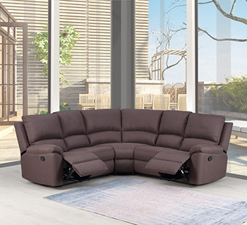Global United 9241 - Chanille Sectional in Brown Color.