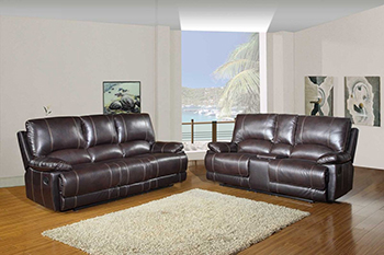 Global United 9345 - Leather Air 2PC Sofa Set with Console Loveseat in Brown color.