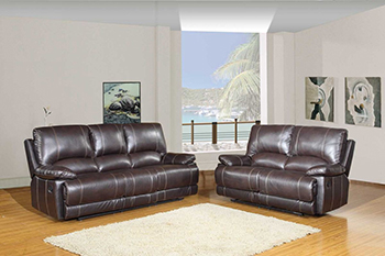 Global United 9345 - Leather Air 2PC Sofa Set in Brown color.