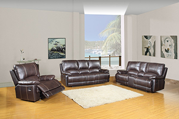 Global United 9345 - Leather Air 3PC Sofa Set with Console Loveseat in Brown color.