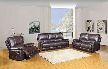 Global United 9345 - Leather Air 3PC Sofa Set in Brown color.