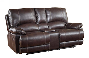 Global United 9345 - Leather Air Console Loveseat in Brown color.