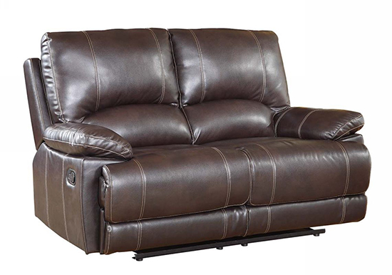 Global United 9345 - Leather Air Loveseat in Brown color.