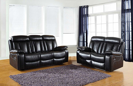 Global United Furniture 9361 Leather Air 2PC Sofa Set in Black color.