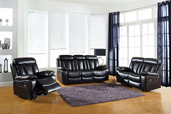Global United Furniture 9361 Leather Air 3PC Sofa Set in Black color.