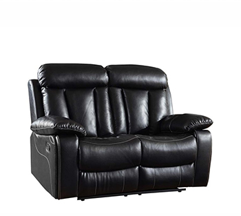Global United 9361 - Leather Air Loveseat in Black color.
