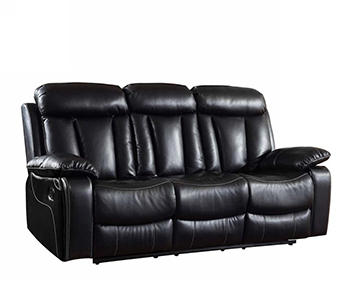 Global United 9361 - Leather Air Sofa in Black color.
