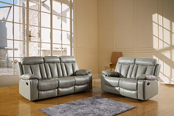 Global United Furniture 9361 Leather Air 2PC Sofa Set in Gray color.