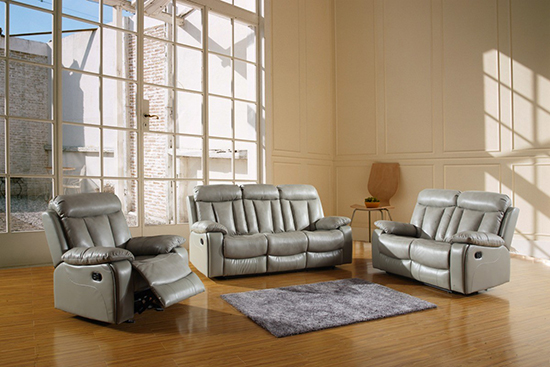 Global United Furniture 9361 Leather Air 3PC Sofa Set in Gray color.