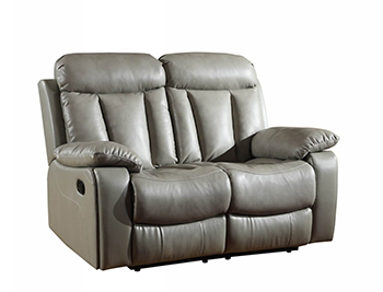 Global United 9361 - Leather Air Loveseat in Gray color.