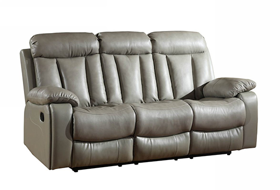Global United 9361 - Leather Air Sofa in Gray color.