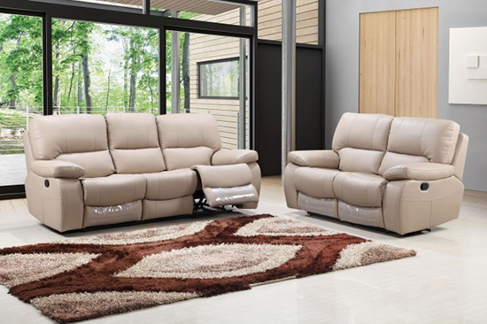 Global United Furniture 9389 Leather Gel 2PC Sofa Set in Beige color.
