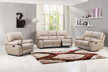 Global United Furniture 9389 Leather Gel 3PC Sofa Set in Beige color.