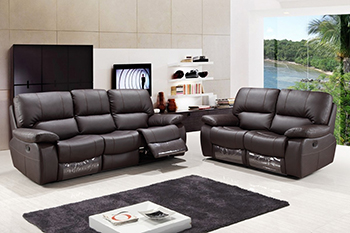 Global United Furniture 9389 Leather Gel 2PC Sofa Set in Brown color.
